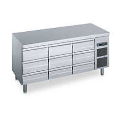 Polaris FTA 03 Underbench Refrigerator 375L refrigerator with 9 drawers and s/steel top, temp range of -2 to +8.