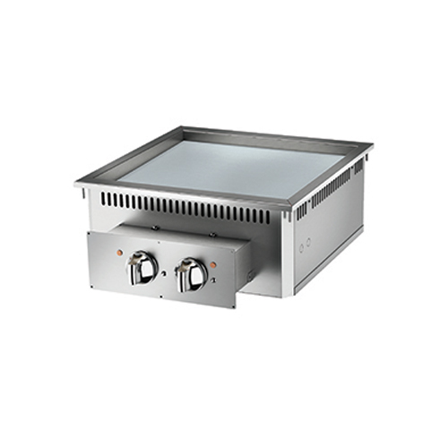 Baron baron 2 burner drop in electric fry top smooth chrome plate and thermostat control di7fte605