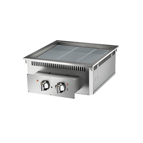 Baron baron 2 burner drop in electric fry top ribbed chrome plate and thermostat control di7fte615