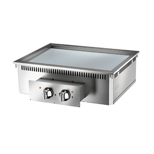 Baron baron 2 burner drop in electric fry top smooth chrome plate and thermostat control di7fte805