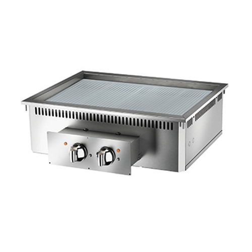 Baron baron 2 burner drop in electric fry top ribbed chrome plate and thermostat control di7fte815