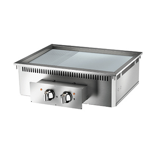 Baron baron 2 burner drop in electric fry top smooth ribbed chrome plate and thermostat control di7fte825