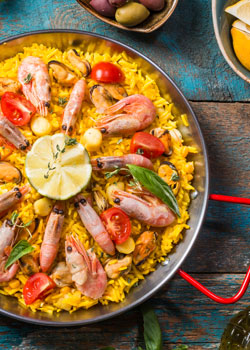 Perfectly cooked paella