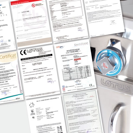 Lotus commercial pastry, fish and schnitzel fryers, made in italy, certifications