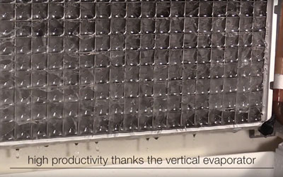 high productivity thanks to the vertical evaporator