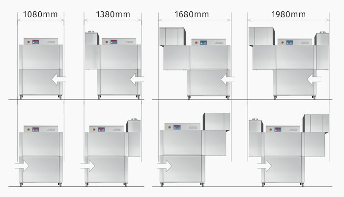 Dihr RX101E compact rack conveyor dish washer, customisable and reversible options