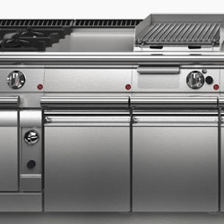 Cook tops and cooking ranges, induction tops and woks, fry tops, deep fryers, barbeques, bratt pans, solid tops, stock pots.