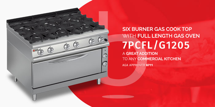 Six burner gas range with large gas oven. Internal oven size - 790 x 550 x 395mm. Cabinet, front, sides, back and inside of oven are all stainless steel. Flame failure device standard with all burners. Total gas load - 162 Mj. 1200 mm Width x 700 mm Depth x 900 mm Height