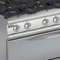 Six burner gas range with large gas oven.