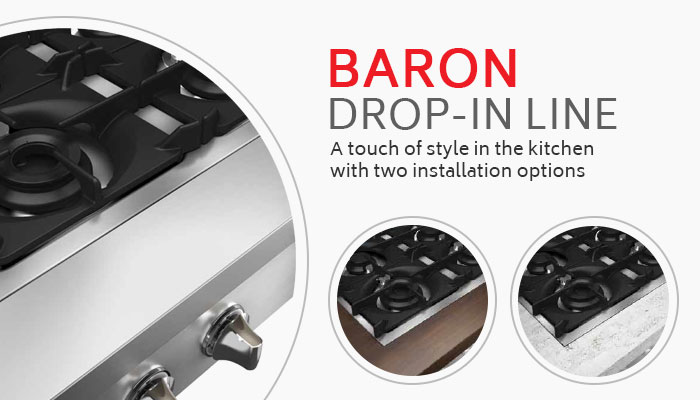 Baron Commercial Cooking Equipment, 700 Drop-in Line, Made In Italy