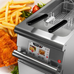 Baron Commercial Cooking Equipment, Deep Fryers, Touch Controls, Automatic Lift, Oil Filtering, Made In Italy