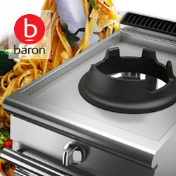 High powered gas wok burner, Baron commercial cooking equipment, asian cuisine restaurants