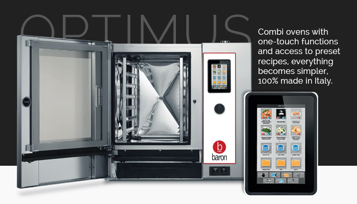 Baron Commercial Combi Ovens, Touch Screen Controls, Optimus T Series, Made In Italy