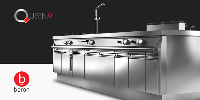 Baron Queen9 Heavy Duty Commercial Cooking And Kitchen Equipment, 900mm Depth Available Now, Made In Italy