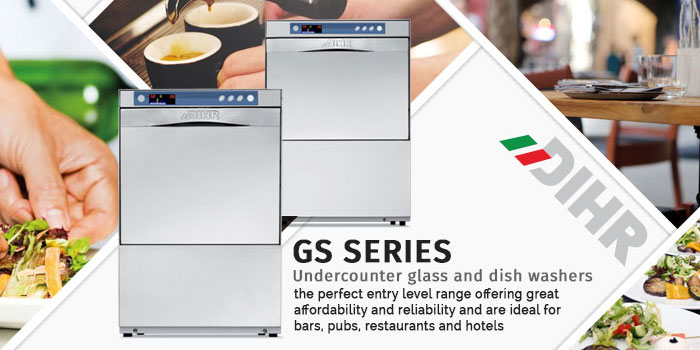 Dihr GS series glasswashers, dishwashers, undercounter commercial ware washers, made in Italy