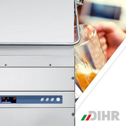 Dihr HT series hood type and pass through dishwashers, heat recovery exhaust systems commercial ware washers, made in Italy