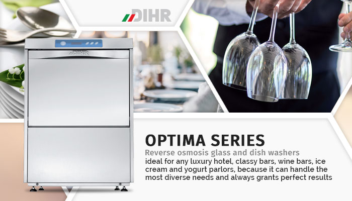Dihr OPTIMA series reverse osmosis compatible glasswashers, dishwashers, undercounter commercial ware washers, made in Italy