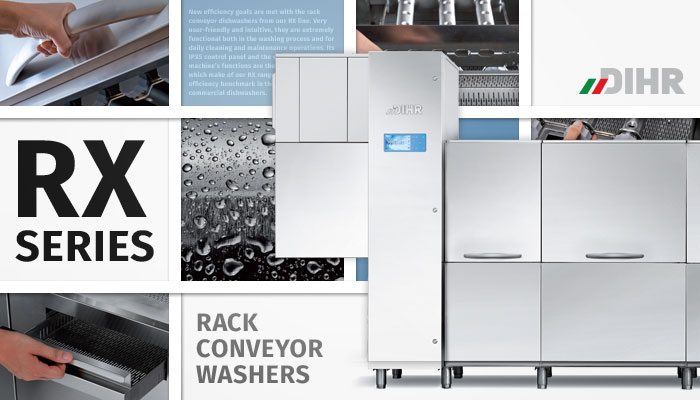 Dihr rack conveyor dish washers, high efficiency, cutting edge technology, commercial ware washers, made in Italy