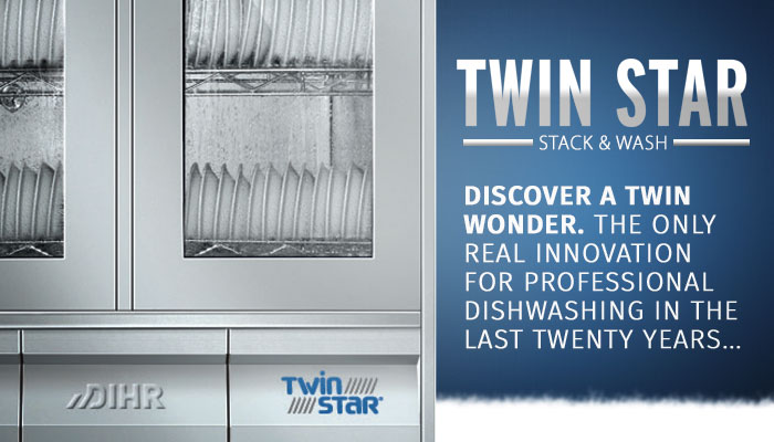 Dihr twin star multi level stacking washer, stack and wash commercial ware washers, made in Italy