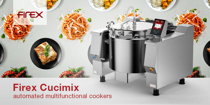 Automated Multifuctional Cookers Tilting Braising Pans Mixer Bratt Pan Firex Made In Italy.