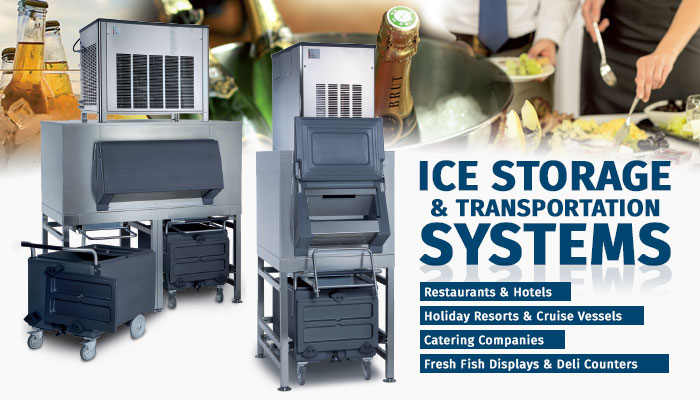 Icematic Commercial Ice Storage Solutions, Ice Transportation Systems, Ice Shuttle Systems, Ice Machines