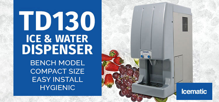 Ice and water dispenser, no contamination, push button, self service customers, commercial ice machines Icematic