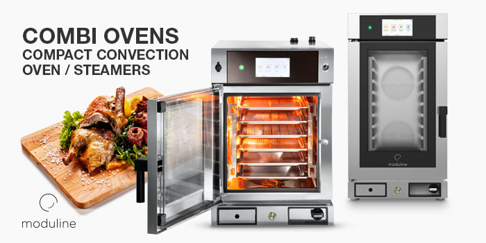 Compact Slim Line Combi Ovens, Convection cooking with forced ventilation, steam and mixed direct injection, Moduline Catering Equipment