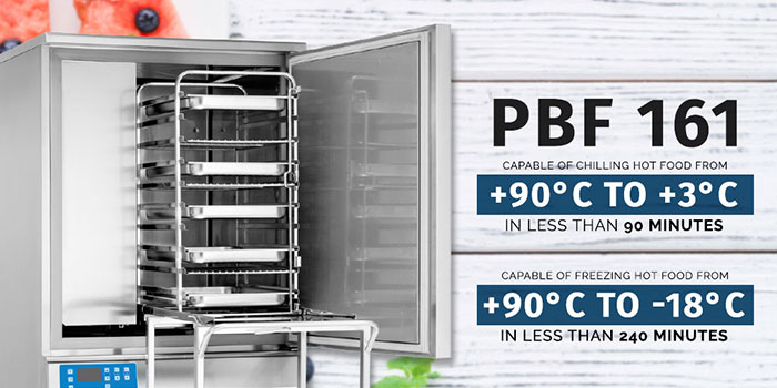 Able to take 16 x 1/1GN or 600 x 400 trays gives the PBF 161 great flexibility as well as having a 36(55)kg chilling and 24(36)kg freezing capacity.