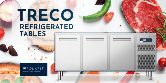 Polaris commercial refrigerated tables, TRECO series made in Italy
