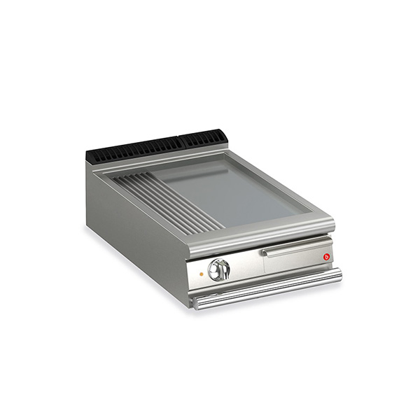 baron 1 burner electric fry top smooth ribbed mild steel plate thermostat control q70ft e620