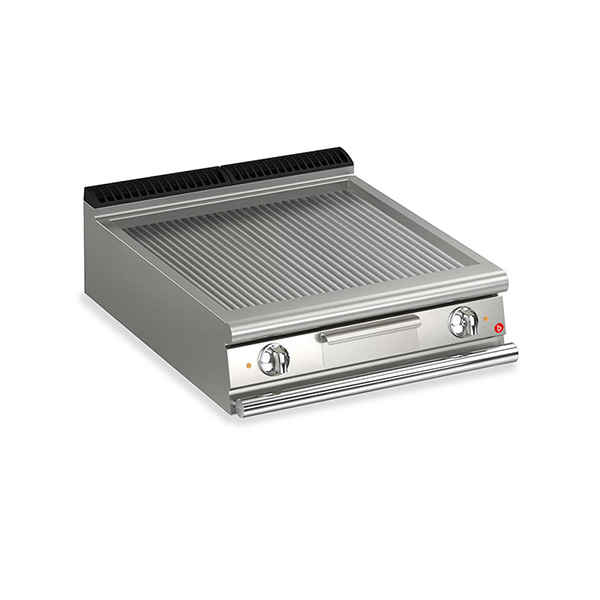 baron 2 burner electric fry top ribbed mild steel plate thermostat control q70ft e810
