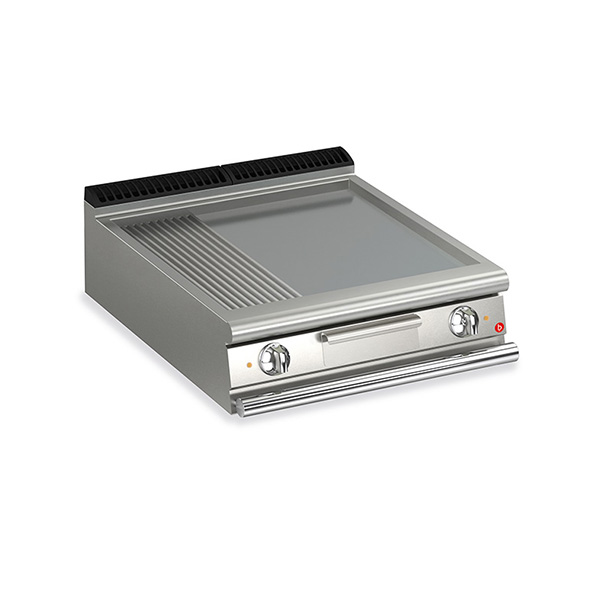 baron 2 burner electric fry top smooth ribbed mild steel plate thermostat control q70ft e820