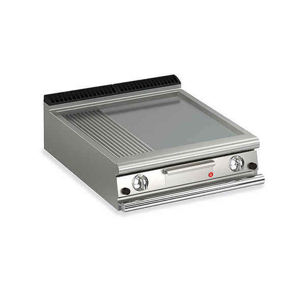 baron 2 burner gas fry top smooth ribbed mild steel plate q70ft g820