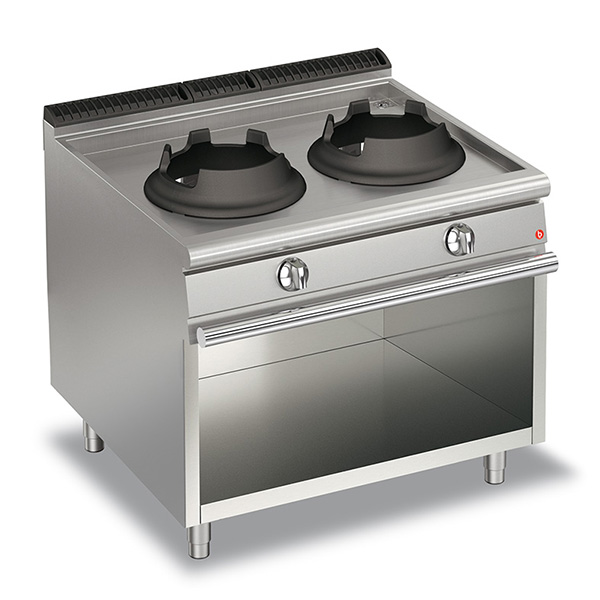 baron 20kw high power double burner gas wok open cabinet q70pcv wg1020