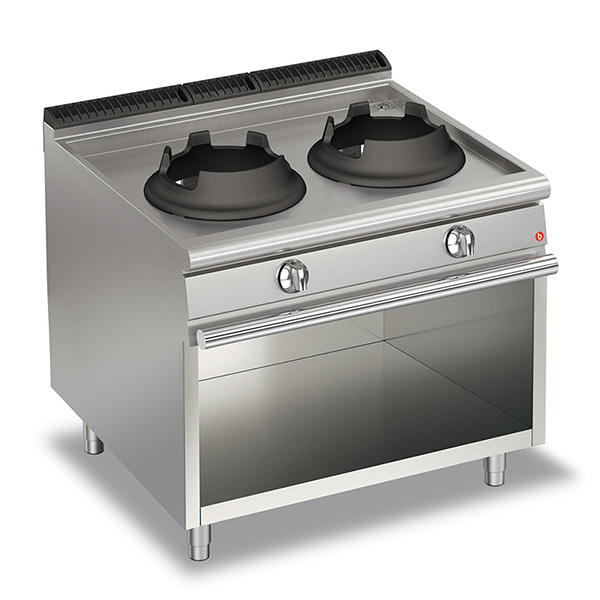 baron 28kw high power double burner gas wok open cabinet q70pcv wg1028