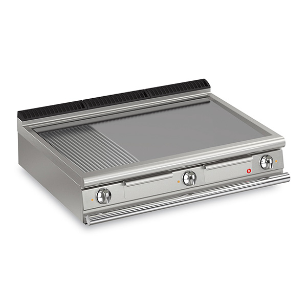 baron 3 burner electric fry top smooth ribbed mild steel plate thermostat control q90ft e1220