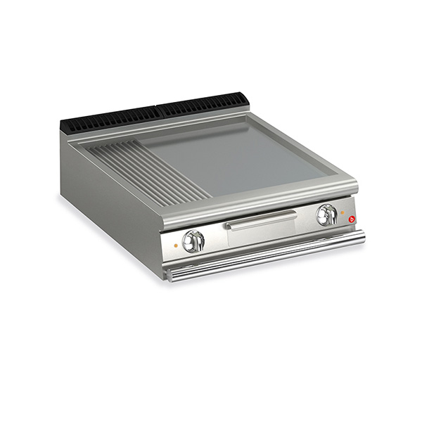 baron 2 burner electric fry top smooth ribbed mild steel plate thermostat control q90ft e820