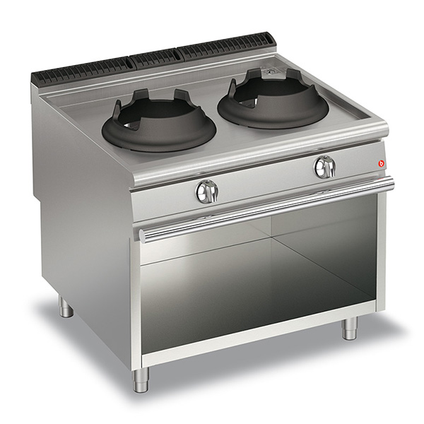 baron 28kw high power double burner gas wok open cabinet q90pcv wg1028
