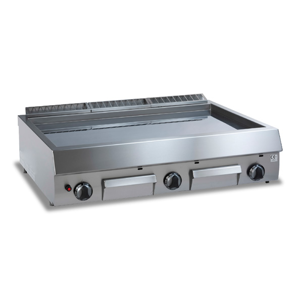 Baron baron royal line gas fry top with smooth chrome plate sdft12gtlc