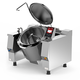 Firex Cucimax model tilting braising pan featuring the new easy touch control panel