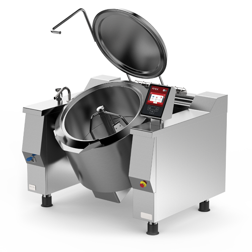Firex Cucimax model tilting kettle featuring the new easy touch control panel