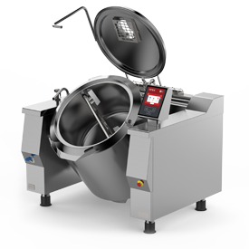 Firex Baskett model tilting jacketed kettle featuring the new easy touch control panel